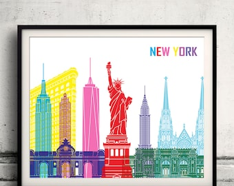 New York pop art skyline - Fine Art Print Glicee Poster Gift Illustration Pop Art Colorful Landmarks - SKU 1979