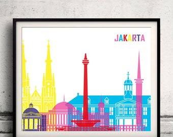 Jakarta pop art skyline - Fine Art Print Glicee Poster Gift Illustration Pop Art Colorful Landmarks - SKU 1985