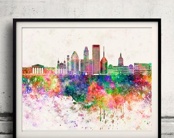 Baltimore skyline in watercolor background - Poster Digital Wall art Illustration Print Art Decorative - SKU 2161