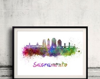 Sacramento skyline in watercolor over white background with name of city - Poster Wall art Illustration Print - SKU 2209