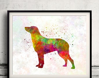 Curly Coated Retriever 01 in watercolor - Fine Art Print Poster Decor Home Watercolor Illustration Dog - SKU 1490