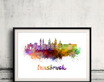 Innsbruck skyline in watercolor over white background with name of city - Poster Wall art Illustration Print - SKU 1610
