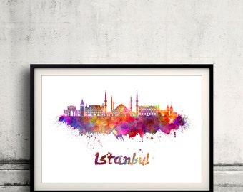 Istanbul skyline in watercolor over white background with name of city - Poster Wall art Illustration Print - SKU 1879