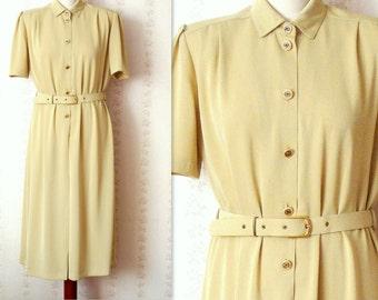 Vintage vanilla cream coloured button up shirt dress size 40