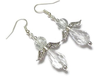Angel Crystal Earrings, Sterling Silver Earrings, Spiritual Faceted Glass Bead Earrings, Guardian Angel Earrings, Dangle and Drop Earrings
