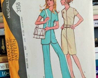 UNCUT 1972 McCall's-A Pounds Thinner Pattern 3158-Misses' Dress or Tunic w Belt and PANTS-Size 14-Bust 36