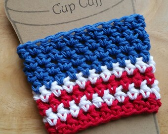 Red, white, and blue to go cup sleeve, coffee cup cozy, to go cup cuff