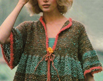 Crochet Sweater Smock Victorian Combing Bed Jacket Worked from the Neck Down PDF Instant Download