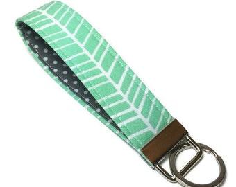 Turquoise herringbone wristlet key fob, wristlet keychain, wrist key chain, fabric keychain, gift under 10, teacher gift, grey polka dots