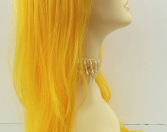 Long 26 inch Yellow Layered Wavy Wig. Cosplay Wig. Scene Wig. Festival Wig. [14-108-Cara-Yellow]