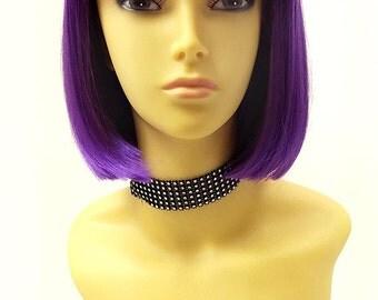 Purple Short Bob Wig Straight w/ Bangs. Page Boy Wig. Hit Girl Style Wig. [08-42-PageBoy-DPurple]