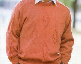 Men's Sweater Knitting Pattern - Jumper - Double Knitting - 36 to 46 inches