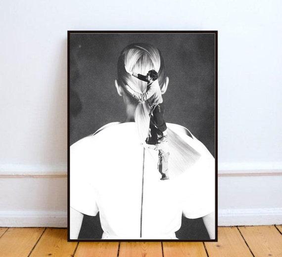 affiche noir et blanc affiche collage papier affiche. Black Bedroom Furniture Sets. Home Design Ideas