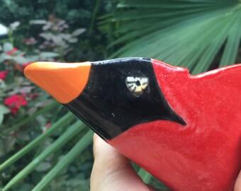 Ceramic Bird Feeder Seed Scoop - Cardinal