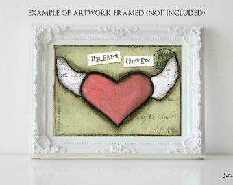 Sale!  5x7 Original painting, heart painting, mixed media painting, mixed media art, whimsical heart art, inspirational art, Dream Often