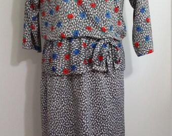 80's dress, L, XL, peplum dress, floral dress, black and white dress, floral formal dress, formal 80's dress, abstract dress