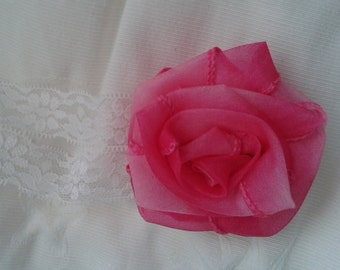 simple rose headband, baby rose headband, pink rose headband, pink rose baby headband, baby headband, pink baby headband, newborn photo prop