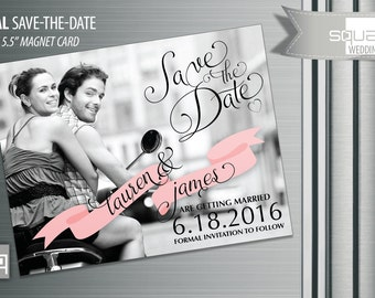Bespoke Black and White Save the Date Photo Magnets - Custom Save-the-Date Photo Magnet Cards - Blush Ribbon Magnetic Cards Engagement CASAL