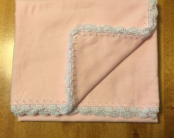 Baby receiving blanket with crocheted edge