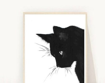 Cat Print, Black Cat, Printable Art, Cat Art, Art Print, Wall Decor, Wall Art, Instant Download