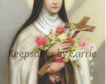 Saint Therese - Sheet of 8 - Laminated - Personalized