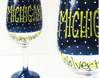 College Glass / ANY College / Michigan Wolverines Wine Glass / Painted Glassware / Collegiate / Graduation Gift / Custom