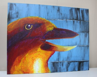 AHEEH ,large aviary bird, mocking jay acrylic painting