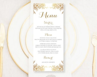 Personalised Printable Wedding Menu Card; Golden Flower Collection