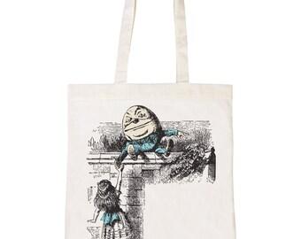 Batch1 Alice In Wonderland The Looking Glass Humpty Dumpty Tote Bag Shopper
