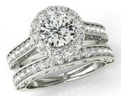 1.50 Carat Forever One Moissanite & Diamond Wedding Set, Antique - Vintage - Bridal Set - 14k Gold - Ring Sets For Women
