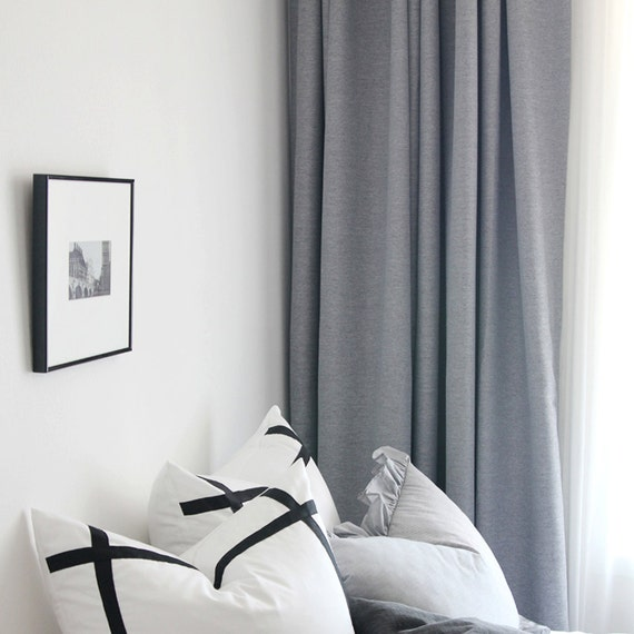 Light Grey Woven Textured Classic Blackout Curtain By Enapremium