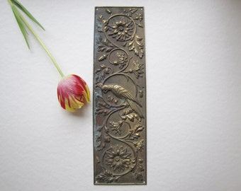 Parrot Push Plate, Victorian Push Plate,  Brass Finger Plate, Antique Ornate Push Plate, William Morris Style, Antique Push Plate, Parrots