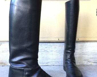 Vintage Schnieder Riding boots made in London England Schneider black leather equestrian