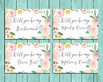 Will You Be My Bridesmaid Printable set, rose quartz floral Wedding Card, DIY Wedding, Bridal Proposal, Digital Download, bridal invitations