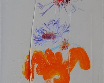 Abstract floral with large abstract orange object below the flowers.
