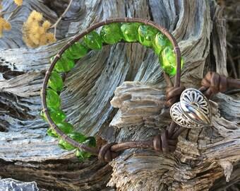Handmade Adjustable Single Wrap Bracelet - Green Glass Beads