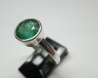 Silver emerald ring set in 92.5 sterling silver; size 8.5, free shipping, resizing available