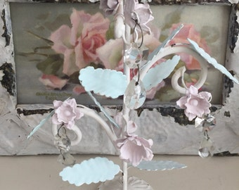 Shabby Chic Metal Rose Candle Holder