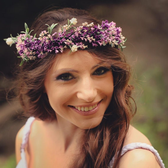 Lavender Flower Hair Wedding Style: Purple Hair Wreath Bridal Flower Crown Bridal Headpiece