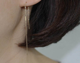 14K solid gold ear thread earrings, 14K Gold Ear Threader earrings,14K Minimalist Earrings, 14K Long threader earrings, long dangle earrings