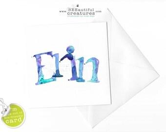 Erin Watercolour Name Art Card,Erin Name,Erin Card,Card for Erin ,Watercolour art card,Modern,Pink,Blue,Purple,Eco-friendly Card