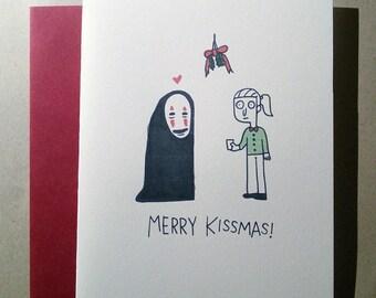 No Face Mistletoe Holiday Card