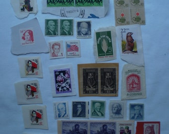 Large Lot of over 100 vintage stamps 1930s to 1990s cerculated and uncerculated NICE!