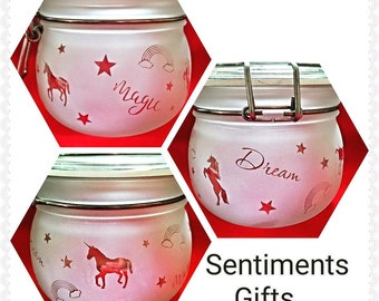 Engraved Unicorn LED Light Jar