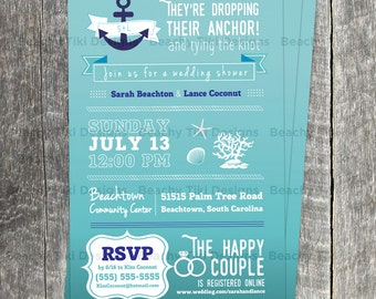 Nautical Wedding or Shower Postcard, Invitation, QR Code, Anchor, Starfish, Mint, Navy Blue, Customize, Beach, Shower Postcard, Two-sided