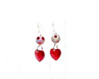 Red Heart Earrings - Red Glass Bead Dangle Earrings - Heart Jewelry - Beaded Earrings
