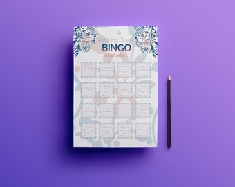 Printable wedding bingo, wedding guest games, reception games, icebreaker for guests, reception activity, wedding games for guests