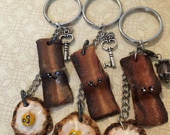 Bacon and egg keychain