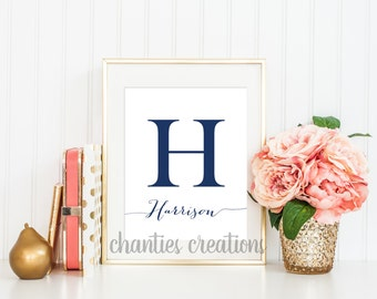 Initial Letter Name Personalized Custom Customized Printable Wall Art Calligraphy Name for Nursery Wall Art Home Decor Printables