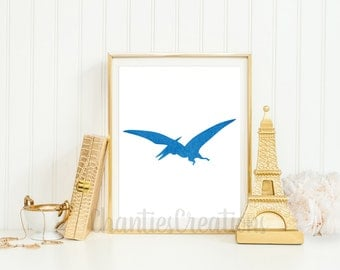 Pterodactyl Dark Blue Printable Wall Art. Dinosaur Dark Blue Printable Wall Art. Little Boys Printable Wall Art.